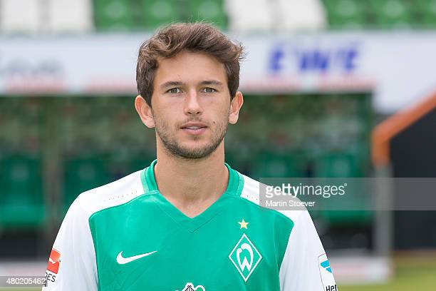 Julian von Haacke poses during the official team presentation of Werder Bremen at Weserstadion on July 10 2015 in Bremen Germany