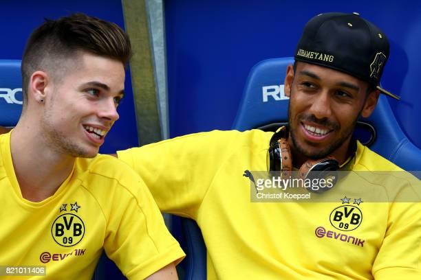 Julian Weigl and PierreEmerick Aubameyang of Dortmund are seen prior to the preseason friendly match between VfL Bochum and Borussia Dortmund at...