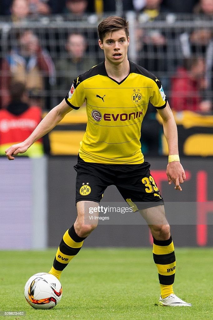 Julian Weigl of Borussia Dortmund during the Bundesliga match between Borussia Dortmund and VfL Wolfsburg on April 30, 2016 at the Signal Idun Park stadium in Dortmund, Germany.