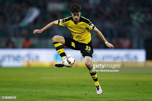 Julian Weigl of Borussia Dortmund in action during the Bundesliga match between Borussia Dortmund and Werder Bremen at Signal Iduna Park on April 2...