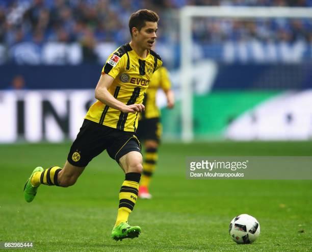 Julian Weigl of Borussia Dortmund in action during the Bundesliga match between FC Schalke 04 and Borussia Dortmund at VeltinsArena on April 1 2017...