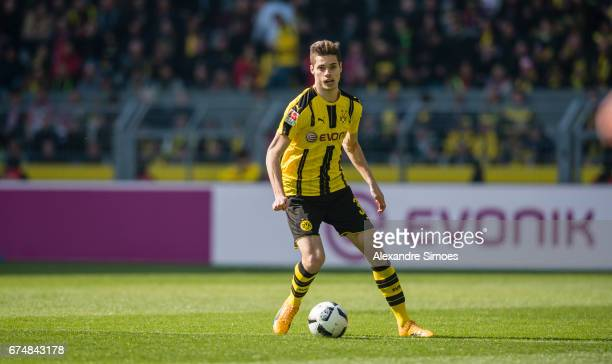 Julian Weigl of Borussia Dortmund in action during the Bundesliga match between Borussia Dortmund and FC Koeln at Signal Iduna Park on April 29 2017...