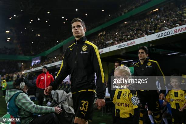 Julian Weigl of Dortmund arrives prior the DFB Cup Round Of 16 match between Borussia Dortmund and Hertha BSC at Signal Iduna Park on February 8 2017...