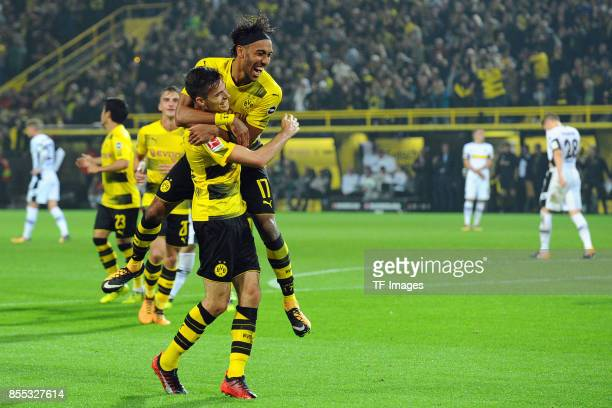 Julian Weigl of Dortmund celebrate a goal during the Bundesliga match between Borussia Dortmund and Borussia Moenchengladbach at Signal Iduna Park on...