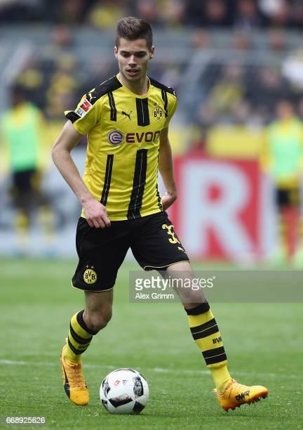 Julian Weigl of Dortmund controles the ball during the Bundesliga match between Borussia Dortmund and Eintracht Frankfurt at Signal Iduna Park on...