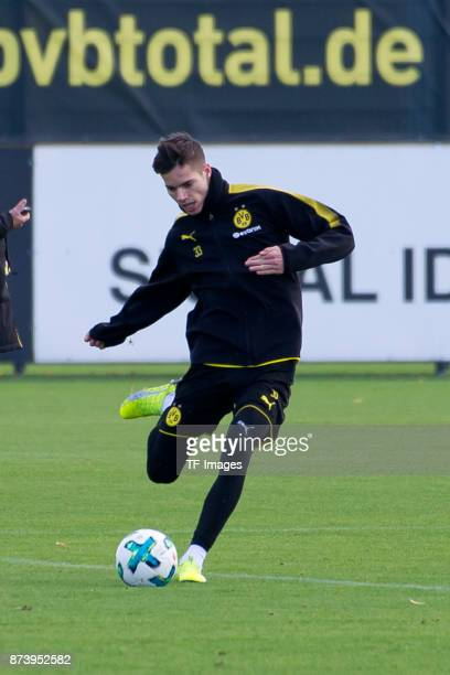 Julian Weigl of Dortmund controls the ball during a training session at BVB trainings center on November 5 2017 in Dortmund