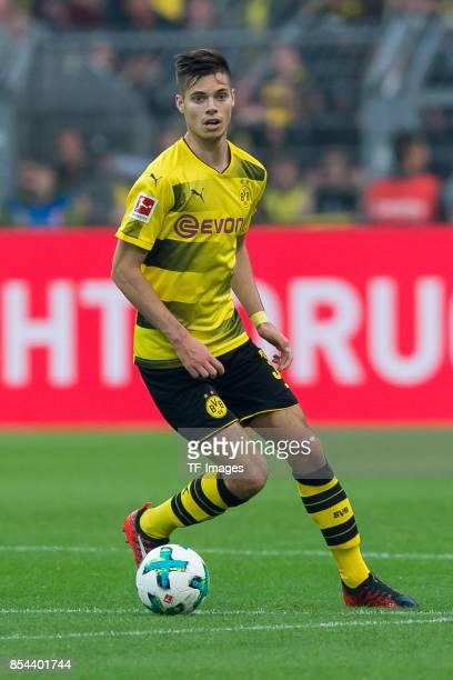 Julian Weigl of Dortmund controls the ball during the Bundesliga match between Borussia Dortmund and Borussia Moenchengladbach at Signal Iduna Park...