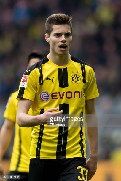 Julian Weigl of Dortmund gestures during the Bundesliga match between Borussia Dortmund and FC Koeln at Signal Iduna Park on April 29 2017 in...