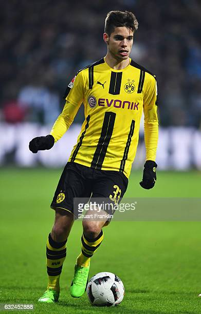 Julian Weigl of Dortmund in action during the Bundesliga match between Werder Bremen and Borussia Dortmund at Weserstadion on January 21 2017 in...
