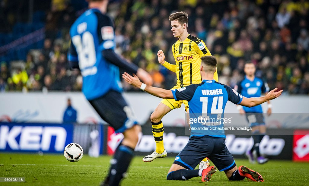 Julian Weigl of Dortmund in action during the Bundesliga match between TSG 1899 Hoffenheim and Borussia Dortmund at Wirsol Rhein-Neckar-Arena on December 16, 2016 in Sinsheim, Germany.