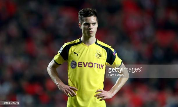 Julian Weigl of Dortmund is seen during the UEFA Champions League Round of 16 first leg match between SL Benfica and Borussia Dortmund at Estadio da...
