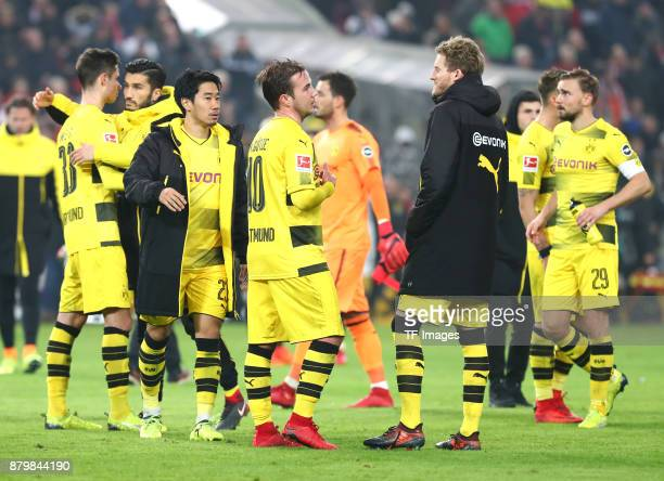 Julian Weigl of Dortmund Nuri Sahin of Dortmund Shinji Kagawa of Dortmund Mario Goetze of Dortmund Andre Schuerrle of Dortmund and Marcel Schmelzer...