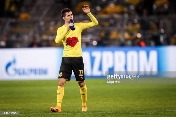 Julian Weigl of Dortmund reacts after the UEFA Champions League Quarter Final first leg match between Borussia Dortmund and AS Monaco at Signal Iduna...