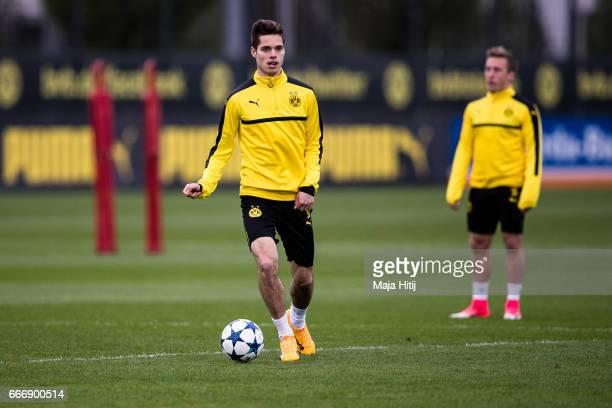 Julian Weigl of Dortmund runs with a ball during a training prior the UEFA Champions League Quarter Final First Leg match between Borussia Dortmund...