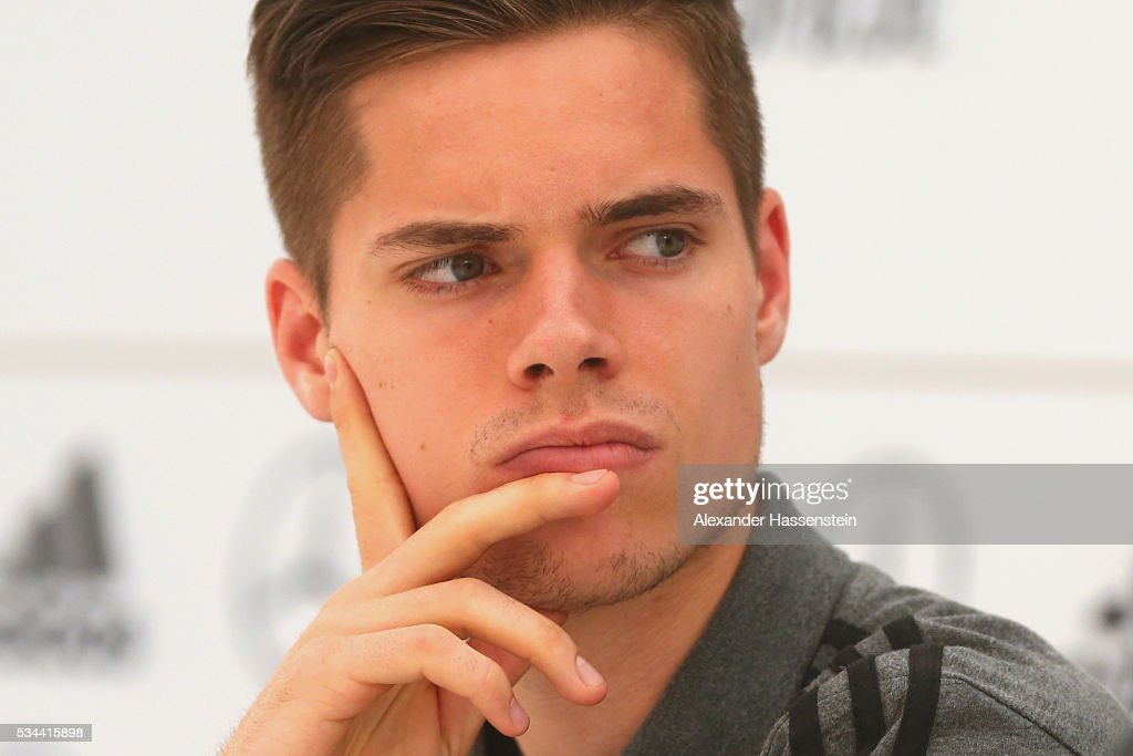 Julian Weigl of Germany looks on during a press conference on day 3 of the German national team trainings camp on May 26, 2016 in Ascona, Switzerland.