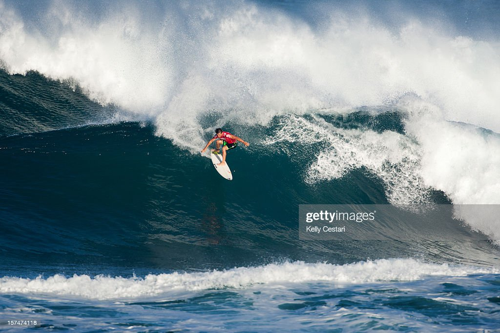 Julian Wilson of the United States advanced into Round 4 of the VANS World Cup of Surfing at Sunset Beach after placing second in his Round 3 heat on December 3, 2012 in North Shore, Hawaii.