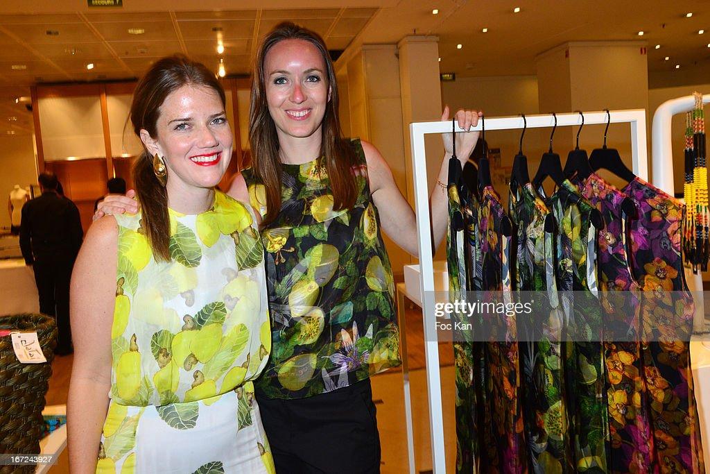 Juliana Affonso Ferreira from Isolda and Le Bon Marche Fashion Director Jennifer Cuvillier attend the 'Le Bresil Rive Gauche' Exhibition At Le Bon Marche on April 22, 2013 in Paris, France.