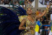 Juliana Alves Queen of Percussion of Unidos da Tijuca samba school performs during its parade at 2014 Brazilian Carnival at Sapucai Sambadrome on...