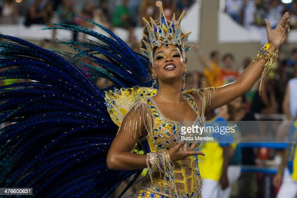 Juliana Alves Queen of Percussion of Unidos da Tijuca samba school performs during its parade at 2014 Brazilian Carnival at Sapucai Sambadrome on...
