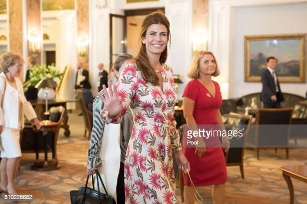 Juliana Awada wife of Mauricio Macri President of Argentina walks through the lobby of the Atlantic Hotel as she takes part in the G20 Summit Spouse...