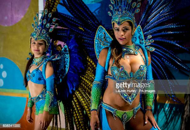Juliana Campos and her nineyearold daughter Bella rehearse in full costume in the Notting Hill area of London prior to this years Notting Hill...