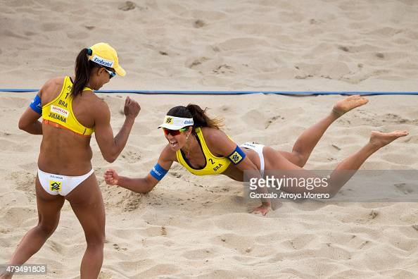 Juliana Felisberta Da Silva from Brazil and her teammate Maria Antonelli celebrate during wining the FIVB Beach Volleyball World Championships Female...