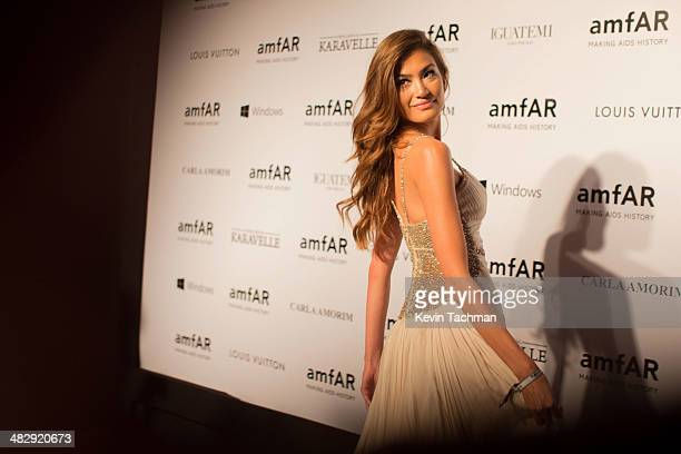 Juliana Imai attends the 2014 amfAR's Inspiration Gala Sao Paulo on April 4 2014 in Sao Paulo Brazil