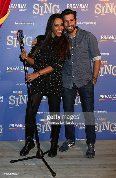 Juliana Moreira and Edoardo Stoppa attend a photocall for 'Sing' on December 13 2016 in Milan Italy