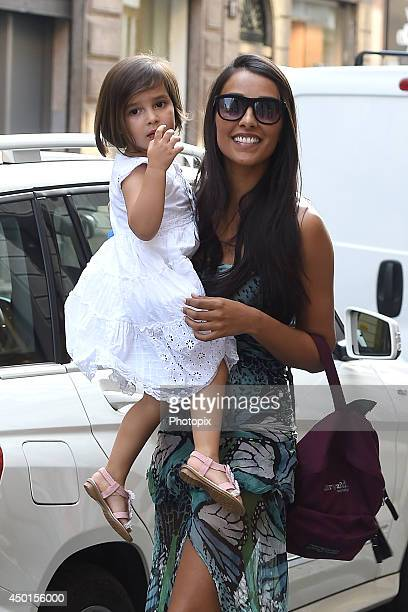 Juliana Moreira and her daughter Sophie are seen on June 5 2014 in Milan Italy