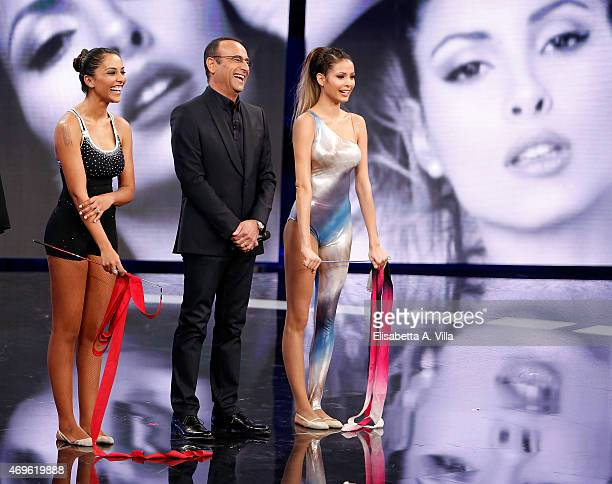 Juliana Moreira Carlo Conti and Mariana Rodriguez attend 'Si Puo Fare' Tv Show at RAI Studios on April 13 2015 in Rome Italy