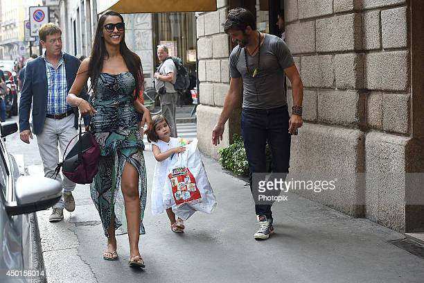 Juliana Moreira Edoardo Stoppa and their daughter Sophie are seen on June 5 2014 in Milan Italy