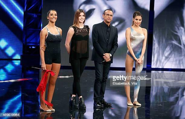 Juliana Moreira Federica Febbo Carlo Conti and Mariana Rodriguez attend 'Si Puo Fare' Tv Show at RAI Studios on April 13 2015 in Rome Italy
