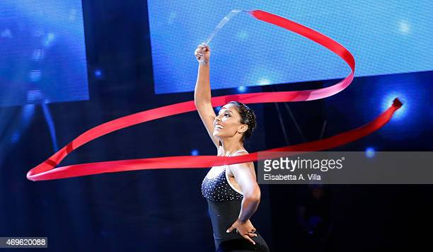 Juliana Moreira performs during the 'Si Puo Fare' Tv Show at RAI Studios on April 13 2015 in Rome Italy