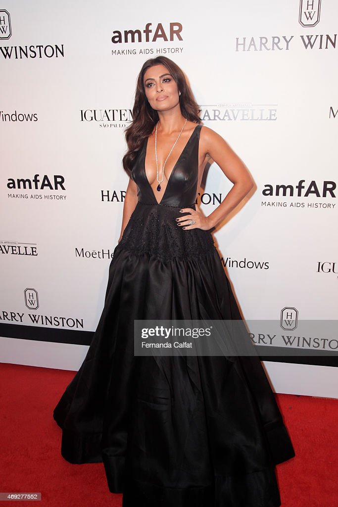 Juliana Paes attends the 5th Annual amfAR Inspiration Gala at the home of Dinho Diniz on April 10 2015 in Sao Paulo Brazil