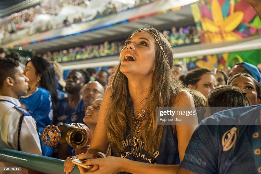 Juliana Paiva attends to the Rio Carnival in Sambodromo on February 8, 2016 in Rio de Janeiro, Brazil. Despite the Zika virus epidemic, thousands of tourists gathered in Rio de Janeiro for the carnival.