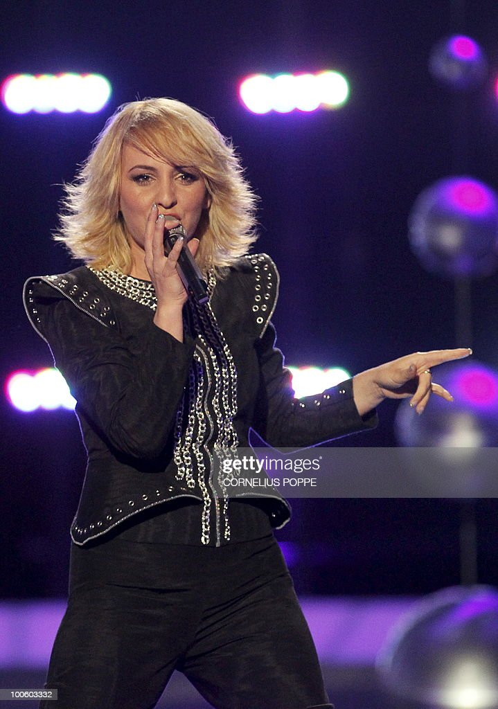 Juliana Pasha from Albania performs the song 'It's All About You' during the semi-finals of the Eurovision Song Contest in Telenor Arena in Baerum, Norway, on May 25, 2010. The 55th Eurovision Song Contest finale will take place on May 29 in the Telenor Arena in Oslo, after Norwegian Alexander Rydbak took the top prize in Moscow last year with his song 'Fairytale'. AFP PHOTO/SCANPIX/Cornelius Poppe ==NORWAY