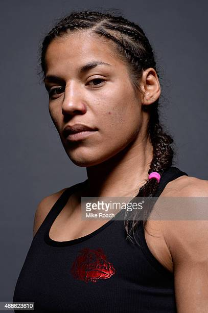Juliana Pena poses for a postfight portrait backstage after her victory over Milana Dudieva during the UFC Fight Night event at the Patriot Center on...