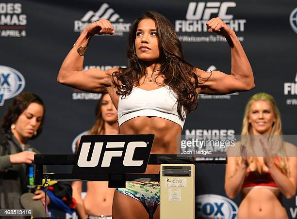 Juliana Pena weighs in during the UFC weighin at the Patriot Center on April 3 2015 in Fairfax Virginia
