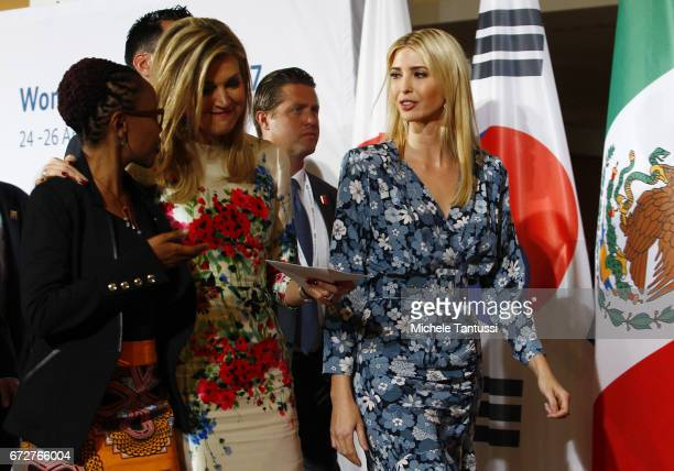 Juliana Rotich Director BRCK speaks with Queen Maxima of the Netherlands and Ivanka Trump Advisor and daughter of US President Donald Trump as they...