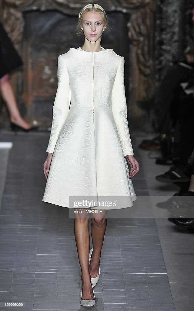 Juliana Shurig walks the runway during the Valentino Spring/Summer 2013 Haute-Couture show as part of Paris Fashion Week at Hotel Salomon de Rothschild on January 23, 2013 in Paris, France.