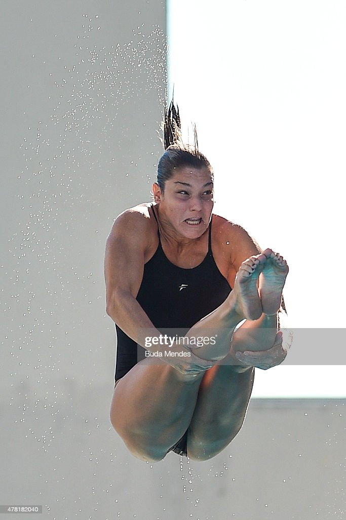 Juliana Veloso of Brazil dives during the Olympic Day celebration and presentation of the Brazilian national team's mascot Ginga by the Brazilian Local Organizing Committee at Parque Aquatico Maria Lenk on June 23, 2015 in Rio de Janeiro, Brazil.