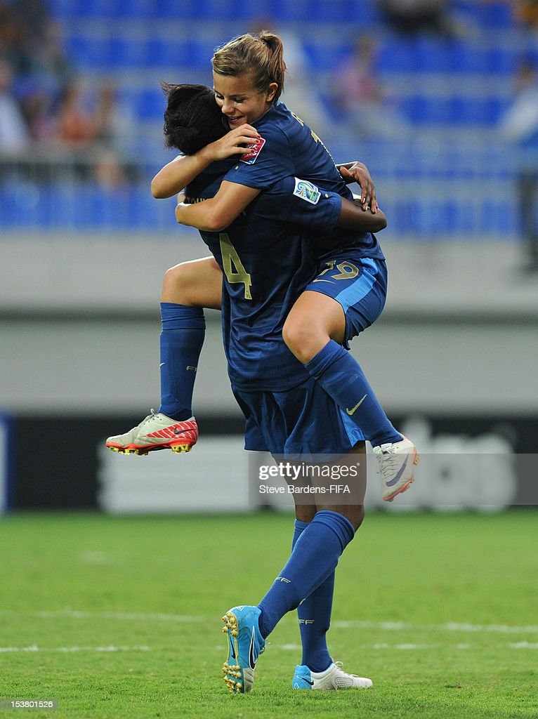 Juliane Gathrat and Aissatou Tounkara of France celebrate their team's second goal during the FIFA U-17 Women's World Cup 2012 Semi-Final match between France and Ghana at 8KM Stadium on October 9, 2012 in Baku, Azerbaijan.
