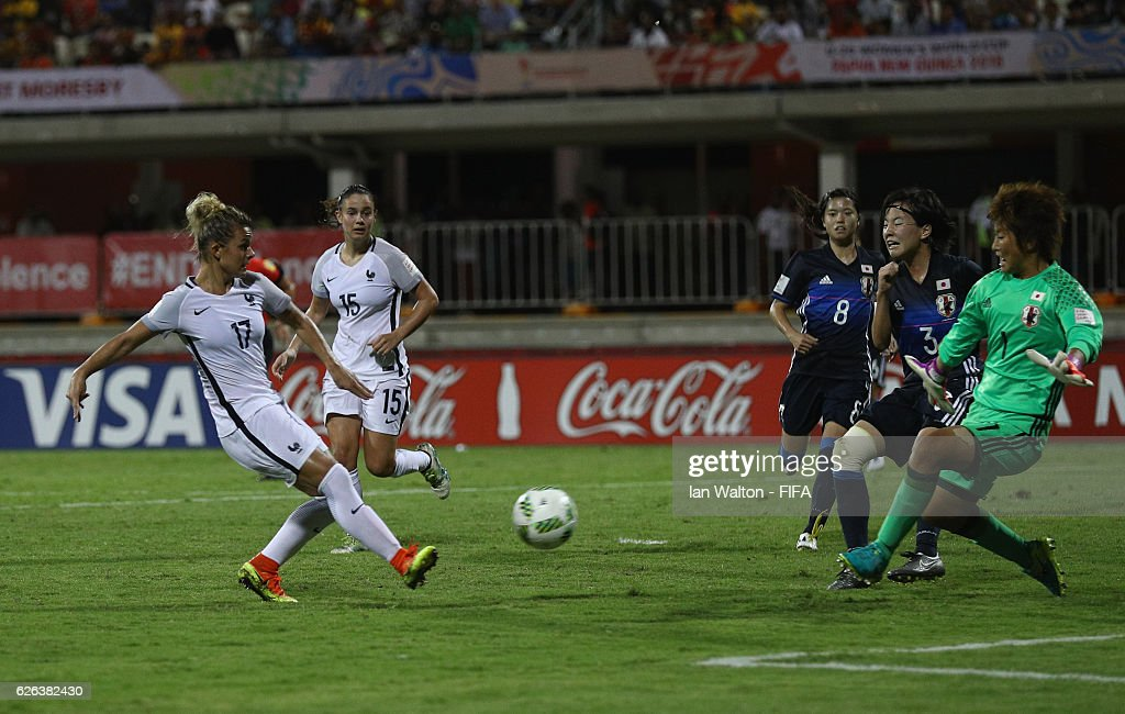 Juliane Gathrat of France scores a goal during the FIFA U-20 Women's World Cup, Semi Final match between Japan and France at Sir John Guise Stadium on November 29, 2016 in Port Moresby, Papua New Guinea.