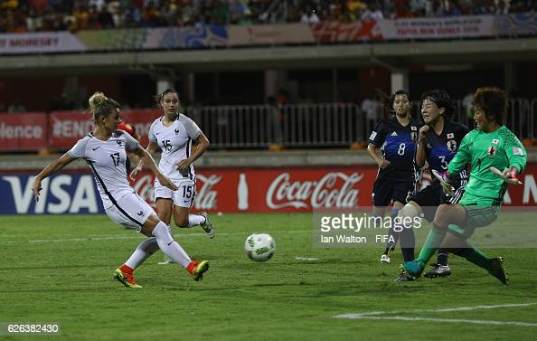 Juliane Gathrat of France scores a goal during the FIFA U20 Women's World Cup Semi Final match between Japan and France at Sir John Guise Stadium on...