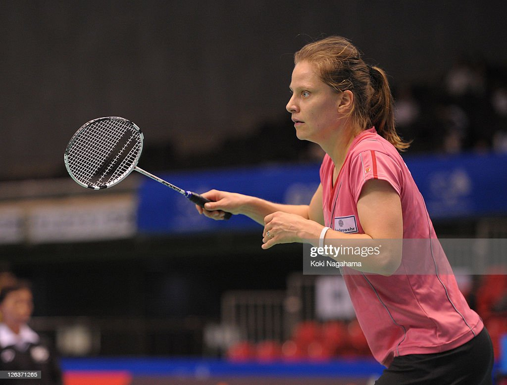 <a gi-track='captionPersonalityLinkClicked' href=/galleries/search?phrase=Juliane+Schenk&family=editorial&specificpeople=653201 ng-click='$event.stopPropagation()'>Juliane Schenk</a> of Germany competes in the Women's Singles final match against Yihan Wang of China during day five of the Yonex Open Japan 2011 at Tokyo Metropolitan Gymnasium on September 25, 2011 in Tokyo, Japan.
