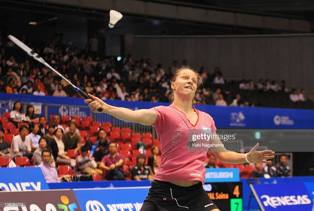 <a gi-track='captionPersonalityLinkClicked' href=/galleries/search?phrase=Juliane+Schenk&family=editorial&specificpeople=653201 ng-click='$event.stopPropagation()'>Juliane Schenk</a> of Germany competes in the Women's singles semi-final match against Saina Newal of India during the day four of the Yonex Open Japan 2011 at Tokyo Metropolitan Gymnasium on September 24, 2011 in Tokyo, Japan.
