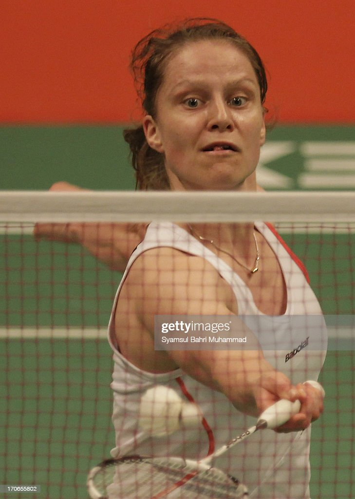<a gi-track='captionPersonalityLinkClicked' href=/galleries/search?phrase=Juliane+Schenk&family=editorial&specificpeople=653201 ng-click='$event.stopPropagation()'>Juliane Schenk</a> of Germany in action during the Badminton Indonesia Open Super Series 2013 women's singles final match against Li Xuerui of China on June 16, 2013 in Jakarta, Indonesia.