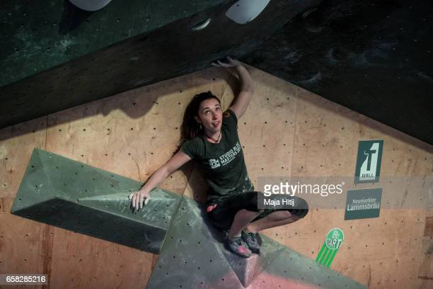 Juliane Wurm of Germany during women semi finals during bouldering event Studio Bloc Masters 2017 on March 26 2017 in Pfungstadt Germany