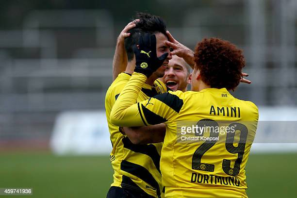 JulianMaurice Derstroff of Dortmund celebrates the first goal with Mustafa Amini of Dortmund during the 3 Liga match between Borussia Dortmund II and...