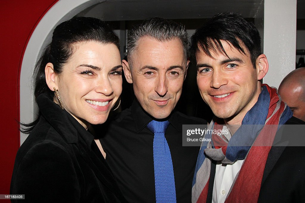 Julianna Margulies Alan Cumming and Keith Lieberthal attend the after party for the Broadway opening night of 'Macbeth' at Hudson Terrace on April 21...